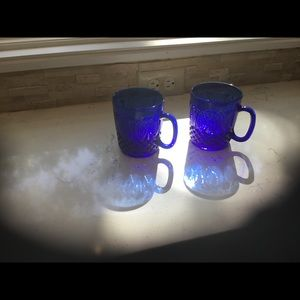 Vintage Antique Cobalt Blue Cups